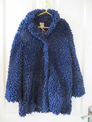 By Mantaray Navy Fluffy Coat Age 8-9 Years New With Tags