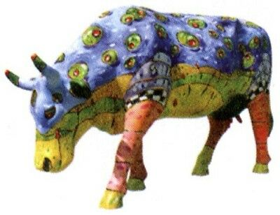 Cow Parade 2002 SHAKEN NOT STEERED MINIATURE FIGURINE #7085 Hard to Find!