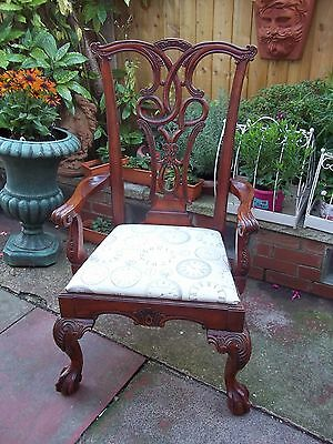 Stunning Large Mahogony Chippendale Style Carved Chair,ball And Claw Feet