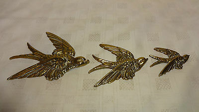 Vintage Novelty Brass Set Of 3 Graduated Swallow/Bird Wall Hangings