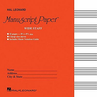 Hal Leonard Wide Staff Manuscript Paper Red Cover 210004