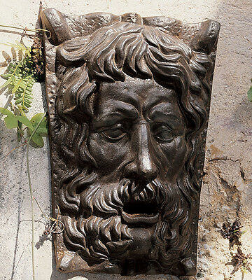 Greenman Wall Sculpture made of Cast Iron and bronze patina