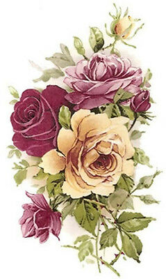 XL PinK & YeLLoW TeA RoSeS SHaBbY WaTerSLiDe DeCALs ~FurNiTuRe Size~