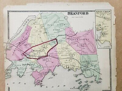 Connecticut, New Haven County Map 1868 Town of Branford !Z3#73