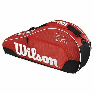 WILSON Federer Team III Triple racquet racket bag - Black / Red - Auth Dealer