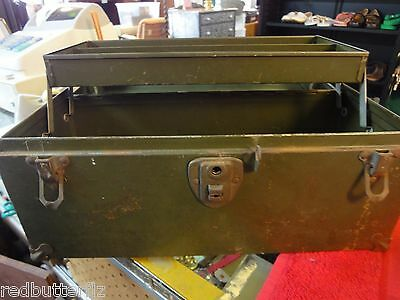 vintage Army green hand carry travel metal tool box