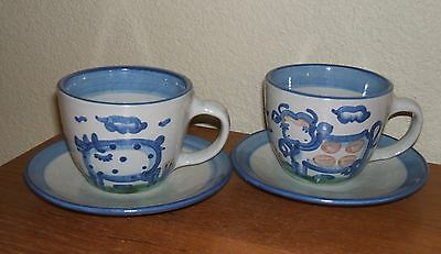 Ma Hadley Pottery Country Scene Blue Flat Cup/saucer Sets  Cow & Pig