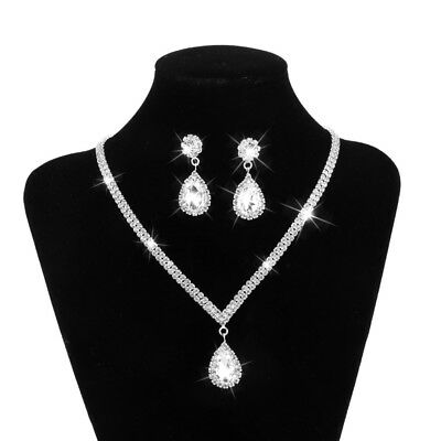Wedding Bridal Crystal Diamante Tear Drop Necklace Earrings Jewelry Set Gift