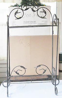 Vintage Wrought Iron Folding Shelf 2 Tier Baker's Rack French Country Cottage