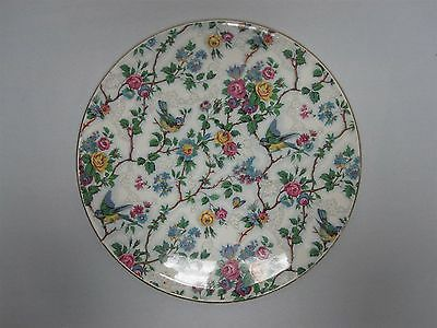"VINTAGE ROYAL TUDOR WARE BARKER BROS 11"" CAKE PLATE w CHINTZ BLUEBIRDS ROSES"
