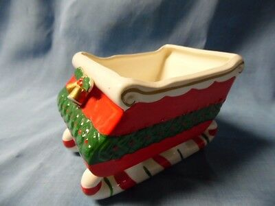 Vintage Red Sleigh With Holly , Gold Bells And Candy Cane Runners - Nice!