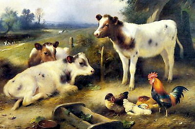 8x10 Print Rural Cattle Farm Yard Animals Ayershire Cow Calf Rooster Chicken Hen