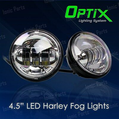 "4.5"" 30W CREE LED Chrome Auxiliary Spot Fog Passing Light Lamp Harley Davidson"