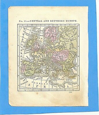 1843 Original Colored Antique Map Of Central And Southern Europe