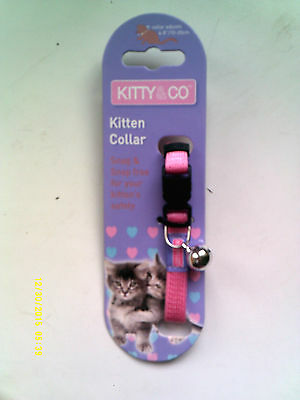 Kitty & Co. Pink Kitten Collar With Bell - Snag & Snap Free For Safety - New