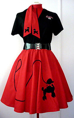 Rock N Roll Poodle Skirt & Scarf Girls Or Small Lady Red  Size 11/12 New