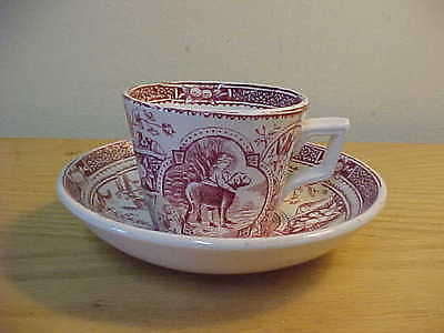 Char. Allerton English Aesthetic Childs Cup And Saucer Pink Transfer Mae & Dog