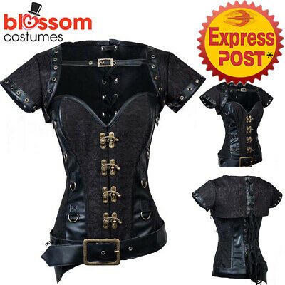 CC72 Black Steampunk Overbust Boned Corset Leather Gothic Halloween Top Jacket