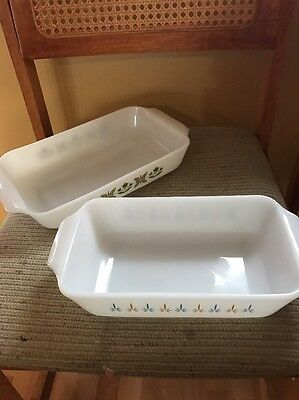 2 Vtg. Anchor Hocking Fire King Candle Glow & Meadow Green Baking Dish #432, 441