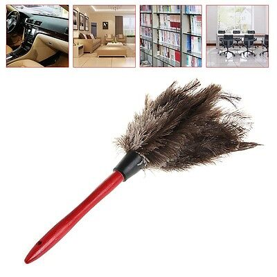 Anti-static Ostrich Feather Fur Duster Dust Wooden Handle Cleaning Brush Tool