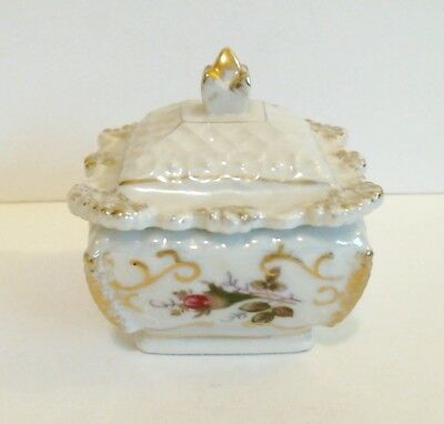 Lustre Powder Box Jar Porcelain Red Rose Beads Scrolls Gold Trim Vintage