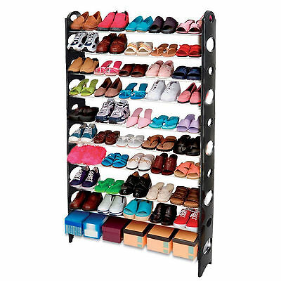 10 Tier 50 Pairs Shoes Shoe Rack Organiser Cabinet Shelf Stand Easy DIY Assemble