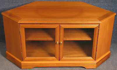 Legate Teak Corner TV Stand / Entertainment Cabinet With Etched Glass Doors