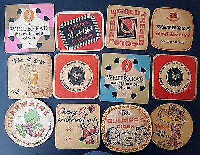 Collection of 12 Old Vintage 1950s 1960s Beer Cider Mats Coasters Advertising