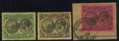 Dominica, SG 71/91, 1923 set of 21v to £1 fine used, the £1 on piece tied 'Domin