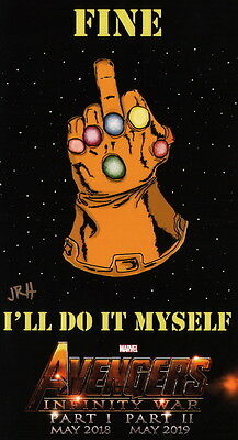 Jim R Hirst SIGNED Avengers Thanos Infinity Gauntlet / War Print