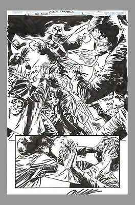 Signed Garth Ennis AND Aaron Campbell Original Art Splash Page The Shadow 2 Pulp