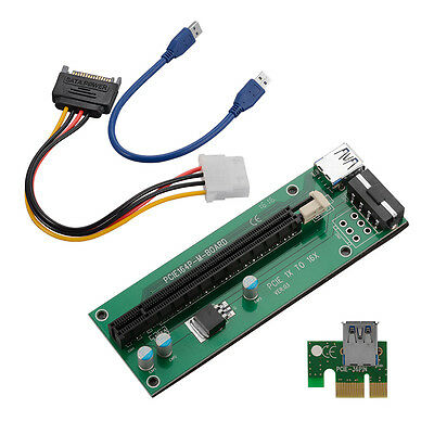 USB 3.0 PCI-E 1X à 16X Extender Riser Board Carte Adapter SATA Câble Cord AC392