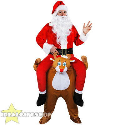 Reindeer Pick Me Up & 7 Pc Santa Suit Ride On Piggy Back Father Christmas Outfit