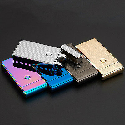 Windproof Rechargeable USB Electric Silver Cigarette Flameless Lighter SingleArc