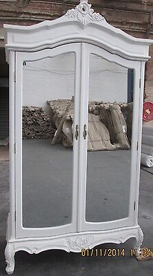 French Louis Wardrobe Armoire Double Full Length Mirrored Shelf White Distressed