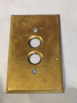 Antique Vintage Brass Perkins Push Button Light Switch Plate Part