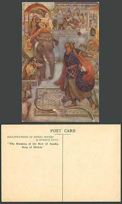 India Old Postcard Hindu Myths Evelyn Paul, Bow of Janaka Mithila King, Elephant