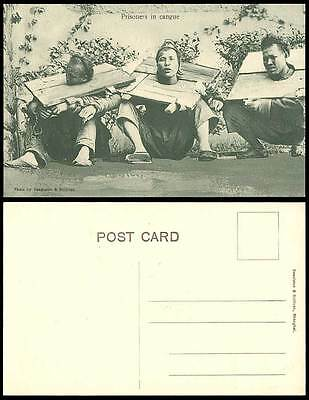 China Old Postcard Native Chinese Chained PRISONERS in CANGUE Execution Shanghai