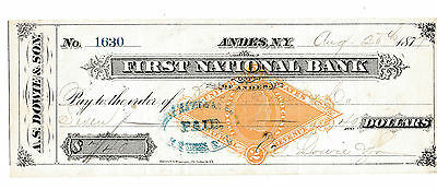 The First National Bank, Andes, New York  1877   With Revenue