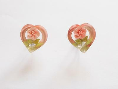 Vintage 1940's Pink Rose Bud Reverse Carved Lucite Heart Shaped Earrings