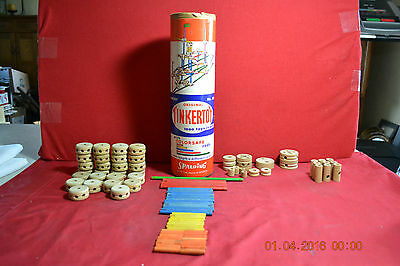 Vintage Original Tinkertoy Major No 136   92 Pieces with Canister