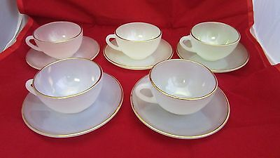 A Set Of 5 Arcopal Coffee Cups And Saucers Pastel Colours 14 E78