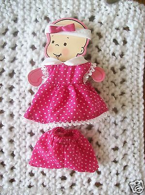 Doll Clothes fucshia pink dots dress set for ooak polymer clay 4 in. 5""