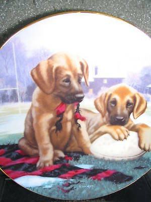 Jim Lamb Good Sports GREAT TRY 1991 Football Puppies Ltd Ed Plate