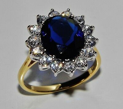 """9ct Yellow Gold & Silver Blue Sapphire """"Lady Diana"""" Large Cluster Ring - size P"""