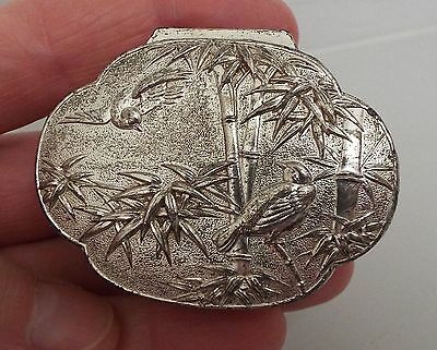 Small Vintage White Metal Japanese Pill Box Birds/Bamboo Design