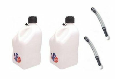 2 Pack VP Racing White 5-Gallon Fuel Jugs w/(2 ) Deluxe hose-3522-3044