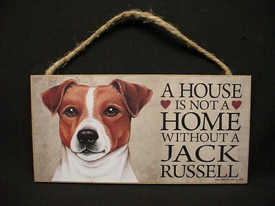 JACK RUSSELL A House Is Not A Home PUPPY DOG ART wood 5 x 10 SIGN Terrier PLAQUE