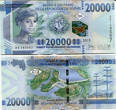 Guinea 20000 20,000 Francs 2015 P New Aunc About Unc