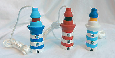 Lighthouse Light Cord Pull with Cord - Hand Painted Ceramic - BNWT
